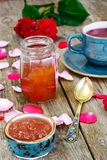 Jam Made of Rose Petals on the Old Wooden Boatds Royalty Free Stock Photo