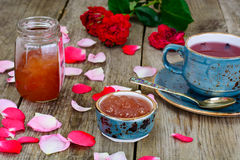 Jam Made of Rose Petals on the Old Wooden Boatds Stock Photo