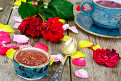 Jam Made of Rose Petals on the Old Wooden Boatds Stock Photos