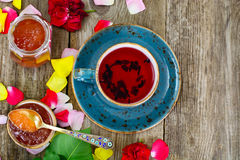 Jam Made of Rose Petals on the Old Wooden Boatds. National Bulgarian Cuisine stock image