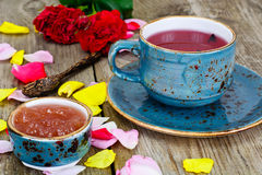 Jam Made of Rose Petals on the Old Wooden Boatds Royalty Free Stock Photography
