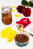 Jam Made of Rose Petals on White Background Royalty Free Stock Image