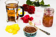 Jam Made of Rose Petals on White Background Stock Photos