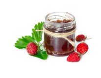 Jam made from wild strawberries in glass jar Stock Photography