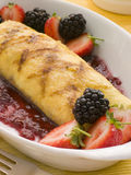 Jam Omelette with Berries Stock Photo