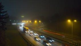 Jam op de weg in de mist, tijd-tijdspanne stock video