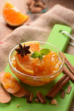 Jam orange in the bowl Stock Photography