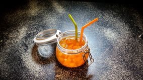 Jam From Orange In A Glass Jar.  Royalty Free Stock Image