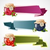 Jam origami banners set Royalty Free Stock Photo