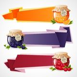 Jam origami banners set Royalty Free Stock Images