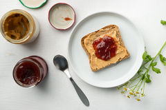 Jam and Peanut Butter Royalty Free Stock Photography