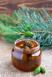 Jam from pine cones. In a glass jar Stock Image