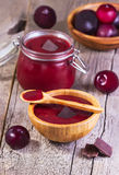 Jam with plums and chocolate Royalty Free Stock Photography