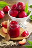 Jam from plums Stock Photos