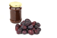The jam and the plums Stock Photography