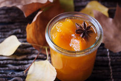 Jam with pumpkin in a glass jar Stock Photography