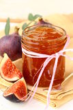 Jam  purple figs with fresh fruit Royalty Free Stock Photos