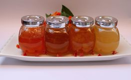 Jam of quince, peaches, apricots and honey Stock Photography