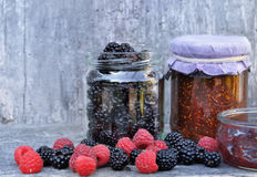 Jam with red fruits Stock Photo