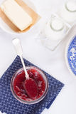 Jam with red grape in a glass jara Stock Photography