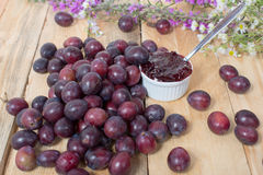 Jam with red and yellow plums Royalty Free Stock Photos