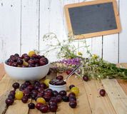 Jam with red and yellow plums Royalty Free Stock Photography