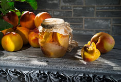 Jam from the ripe peaches Stock Images