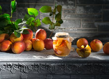 Jam from the ripe peaches Stock Photo