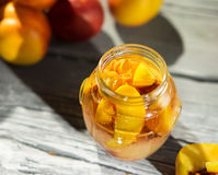 Jam from the ripe peaches Stock Photography