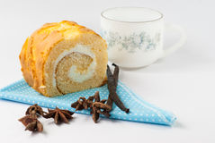 Jam roll cake with Vanilla pods Royalty Free Stock Photo