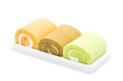 Jam roll cakes on white background. Jam roll cakes isolated on white background Stock Photo
