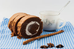 Jam roll chocolate cake Stock Photo