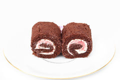 Jam roll chocolate and wine Stock Photo