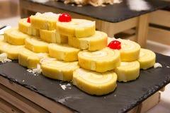 Jam Roll Cream Vanilla Stock Photos