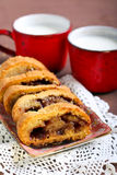 Jam roly - poly. And milk Stock Photography