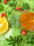 Jam with rose hips and oranges Stock Photos