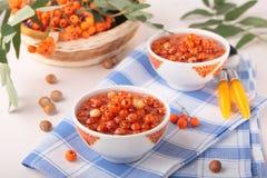 Jam of rowan and hazel nuts Stock Photo