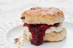 Jam Scone. Fruit scone with clotted cream and strawberry jam on pretty white plate Royalty Free Stock Photo