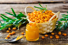 Jam from a sea-buckthorn Royalty Free Stock Photo