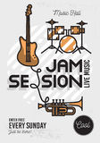 Jam Session Minimalistic Cool Line Art Event Music Poster. Vector Design. Guitar, Drums And Trumpet Icons royalty free illustration
