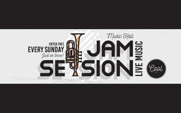 Jam Session Minimalistic Cool Line Art Event Music Website Cover. Image. Vector Design. Trumpet Icon stock illustration
