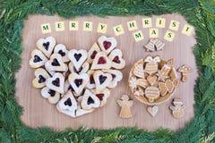 Jam shortbread cookies and honey cookies. Stock Photography