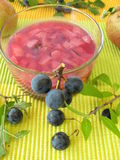 Jam with sloe fruits and apples Royalty Free Stock Photo
