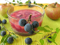 Jam with sloe fruits and apples Stock Photography