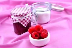 jam and some organic fresh fruit Stock Image