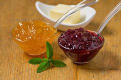 Jam with stevia leaves Stock Photo