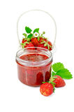 Jam strawberry with basket of berry Stock Photo