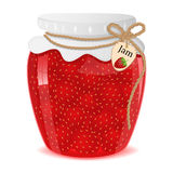 Jam. Strawberry jam in a glass jar - Illustration vector illustration