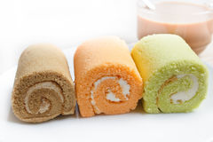 Jam swiss roll cake three flavors. Royalty Free Stock Photography