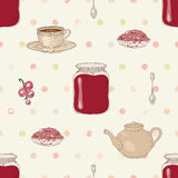 Jam and tea seamless pattern Royalty Free Stock Images